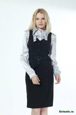 Женский костюм четверка черный: жилет и юбка. Артикул 73082ABE