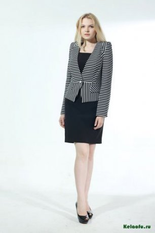 Женский костюм тройка черно-белый: пиджак, платье, брюки. Артикул 74345AL