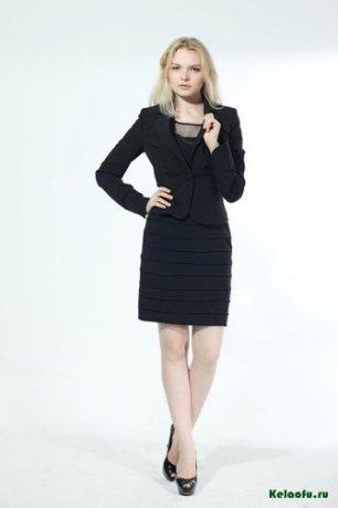 Женский костюм тройка черный: пиджак, платье и брюки. Артикул 74276AL