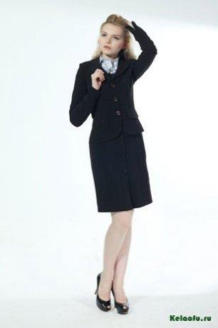 Женский костюм тройка черный: пиджак, сарафан и брюки. Артикул 74255AL