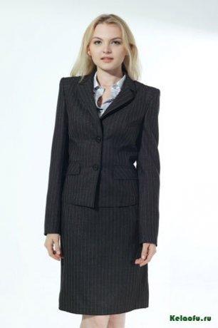 Женский костюм тройка черный: пиджак, юбка и брюки. Артикул 84731AB