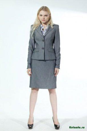 Женский костюм тройка серый: пиджак, брюки и юбка. Артикул 84731AB