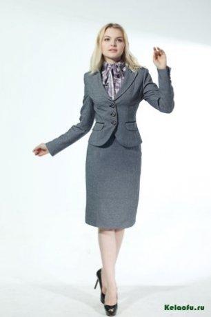 Женский костюм тройка серый: пиджак и юбка. Артикул 84260AB