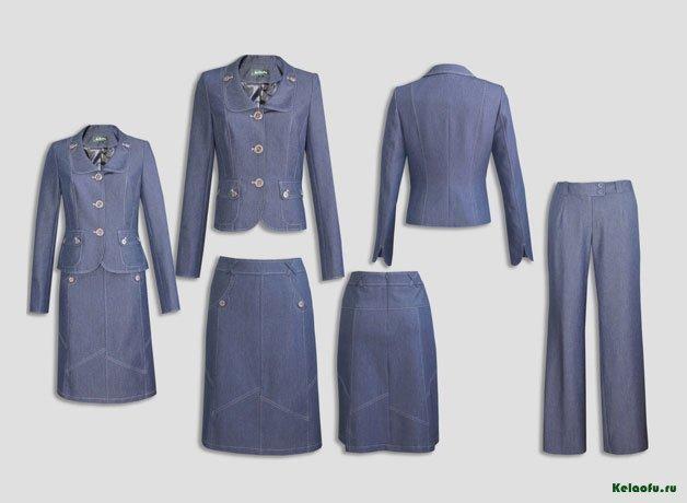 Женский костюм тройка синий джинсовый.  Артикул 82394AB