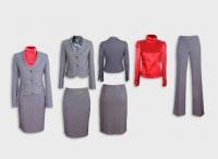 Женский костюм тройка серый с гольфом.  Артикул 74049ABS