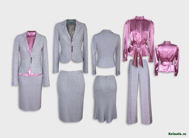 Женский костюм тройка светло-серый с блузой.  Артикул 74129ABS