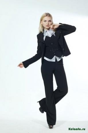 Женский костюм четверка: жилет, пиджак, юбка и брюки. Артикул73082ABE