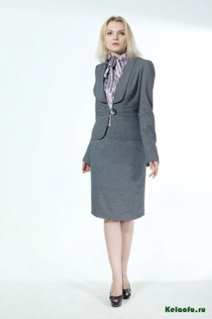 Женский костюм четверка серый: пиджак, блуза, юбка и брюки. Артикул 84502ABC