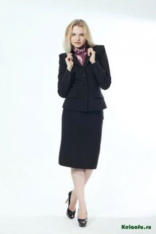 Женский костюм тройка черный: пиджак, юбка и брюки. Артикул 74345AB