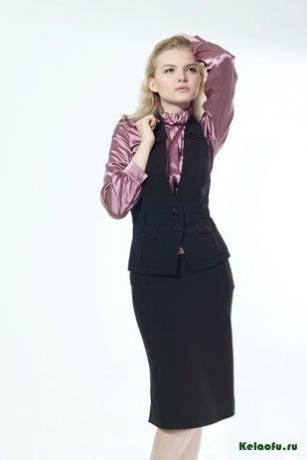 Женский костюм тройка черный: жилет, юбка и пиджак. Артикул 72428BE