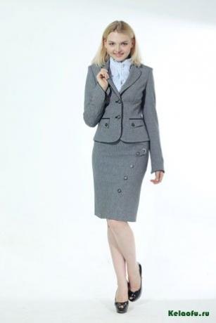 Женский костюм тройка серый: пиджак, юбка и брюки. Артикул 72337AB
