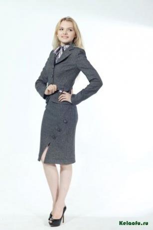 Женский костюм тройка серый: пиджак, юбка и брюки. Артикул 74568AB