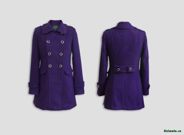 Женское пальто фиолетовое. Артикул 181183